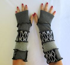 Recycled Sweater Fingerless Gloves Arm Warmers Black Convertibles Gypsy Gift Upcycled Clothing Gloves by ThankfulRose on Etsy