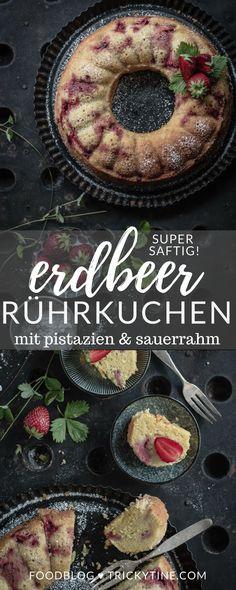 super saftiger rührkuchen mit erdbeeren, pistazien und sauerrahm ♥ trickytine.com