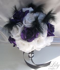 """17 Pieces Package Silk Flower Wedding Decoration Bridal Bouquet PURPLE WHITE FEATHERS """"Lily Of Angeles"""". $189.99, via Etsy."""