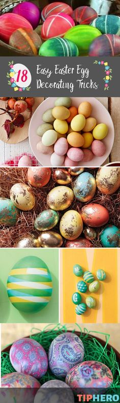 Decorating Easter eggs is one of our favorite springtime traditions. Instead of sticking with the standard crayon and dye, this year, we wanted to mix it up with some new decorating techniques. So we rounded up some of our favorite ideas, tips and tricks for creating the most gorgeous eggs we've ever seen. These go beyond basic basket décor to decorations that make your home extra Easter festive. Click for the list and give them a try this Easter! Easter Egg Dye, Coloring Easter Eggs, Hoppy Easter, Yummy Easter Recipes, Easter Crafts For Kids, Easter Stuff, Easter Projects, Easter Decor, Easter Treats