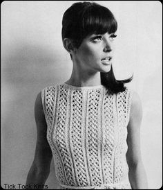 """No.204 PDF Vintage Knitting Pattern For Women - Instant Download - Vertical Lace Panel Sleeveless Dress - Bust Sizes 37"""", 39"""", 40.5"""", 42.5"""""""