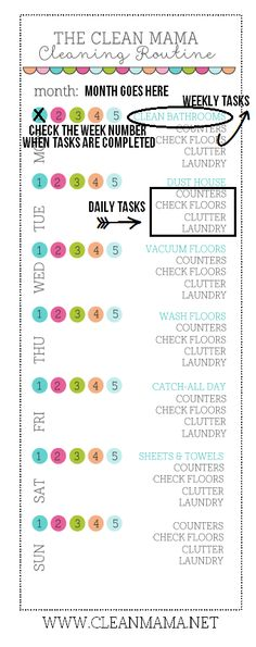Struggling with the day to day cleaning of your home? This FREE printable is perfect for staying on top of the messes and keeping your home clean!
