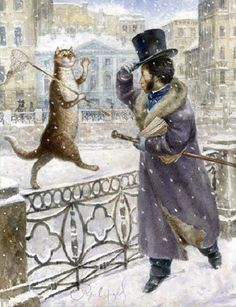 Alexander Pushkin greeting the cat. Painting by Russian artist Vladimir Rumyantsev - Art Kaleidoscope I Love Cats, Cute Cats, Photo D Art, Art Et Illustration, Cat Illustrations, Cat Cards, Vintage Cat, Russian Art, Figure Painting