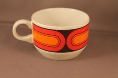 True 70s Vintage Coffee Cup Set Form 3000 Sizilia Pop Design by Hans Theo Baumann for Arzberg Germany