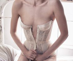 Daria Werbowy by Mikael Jansson for Porter Magazine Fall 2015 Agent Provocateur Mercy Corset Daria Werbowy, Agent Provocateur, Luxury Lingerie, Sexy Lingerie, Honeymoon Lingerie, White Lingerie, Pretty Lingerie, Bridal Lingerie, Vintage Lingerie