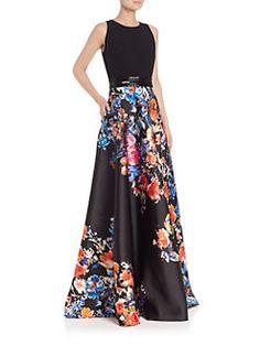 Carmen Marc Valvo - Crepe-Bodice Floral Ball Gown $1,295.00