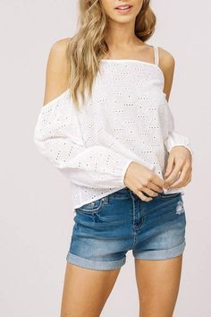 Off the shoulder top with embroidered eyelet fabric body and embroidery lace trimming at shoulder strap Off Shoulder Blouse, Off The Shoulder, Cotton Style, Lace Trim, Denim Shorts, Embroidery, Fabric, Tops, Women