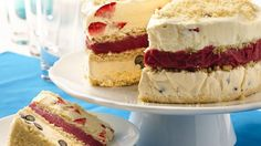 """A fresh and fruity layered """"cake"""" made with ice cream, fruit and cookies is a great way to celebrate."""