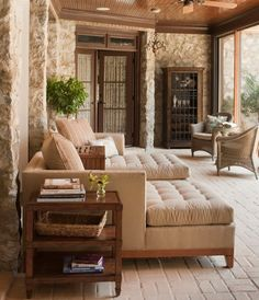 Outdoor Rooms: Choosing Sunroom Furniture to Match your Design St. Screened Porch Designs, Screened In Patio, Front Porch, Outdoor Rooms, Outdoor Living, Indoor Outdoor, Outdoor Patios, Outdoor Kitchens, Luxury Kitchens
