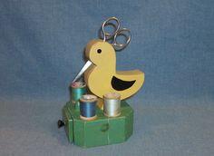 Vintage Sewing--Bird Scissors & Thread Holder