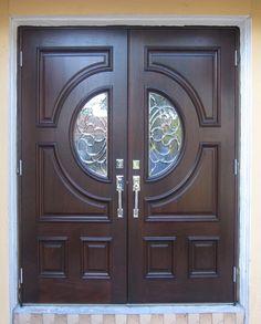 Mahogany Wood Entry Doors   Entry Doors   Tropical Doors and Mouldings Wooden Front Door Design, Main Entrance Door Design, Double Door Design, Wooden Front Doors, Wood Screen Door, Wood Entry Doors, Tropical Doors, Home Gate Design, Achilles