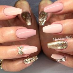 Ideas for Rose Gold Coffin Nails. Check out our nails selection for the very best in unique or custom Rose Gold Coffin Nails. Gold Coffin Nails, Stiletto Nails, Acrylic Nails, Matte Nails, Dark Nails, Rose Nail Art, Rose Gold Nails, Glitter Nails, Pink Nail