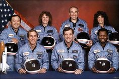 Challenger Disaster Crew 1985 President Ronald Reagan honoured the crew as national heroes. In the back row from left to right: Ellison Onizuka, Sharon Christa McAuliffe (the teacher that 'was chosen' to ride on the shuttle), Greg Jarvis, Judy Resnik. In the front row from left to right: Pilot Mike Smith, Commander, Dick Scobee, and Ron McNair.