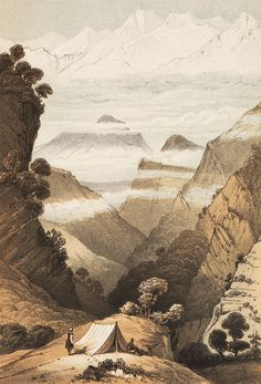 Campsite in the Himalayas, from Joseph Hooker, Himalayan Journals, 1854.