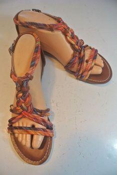 9b9e8768850 Fergalicious Fergie Follow Up Orange Brown Braided Flats Sandals Shoes Size  7.5  fashion  clothing
