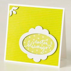 """Frame your Easter message in an oval for a creative spin on a typical card. Use a sticker or your best handwriting to spell out """"Easter blessings"""" on patterned paper. Next, adhere the message to decorative paper attached to cardstock. Then add an oval accent and additional touches"""