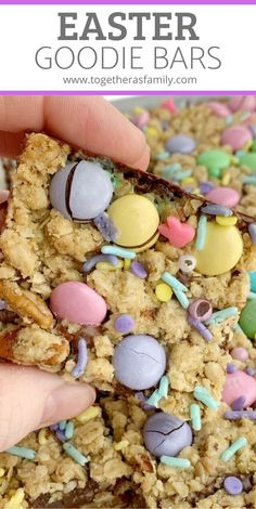 Easter Goody Bars Are The Perfect Springtime Treat. A Pecan And Oat Crumble Mixture For The Crust, Filled With A Creamy Fudge Filling, And Topped With More Crumble, Easter M&M's And Sprinkles. Spring Recipes, Easter Recipes, Holiday Recipes, Easter Desserts, Holiday Ideas, Easter Candy, Easter Treats, Easter Food, Slow Cooker Desserts