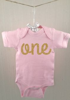 Pink One One piece Pink with Gold glitter one by HoneyduClothing