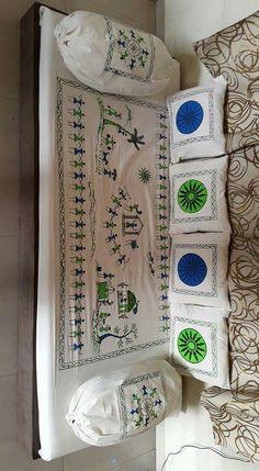 divan set Worli Painting, Saree Painting, Fabric Painting, Fabric Art, Madhubani Art, Madhubani Painting, Ethnic Home Decor, Indian Home Decor, Hobbies And Crafts