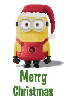 Merry Christmas Minion Counted Cross Stitch Pattern, kit also available!