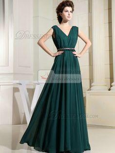 USD $113.69 Column Chiffon V-neck Floor-length Draped Dark Green Bridesmaid Dresses #Chiffon #Bridesmaid #Dresses
