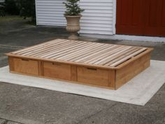 Low Platform Bed or Tatami Bed with drawers, natural color