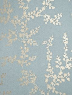 Shadow Fern Floral Wallpaper Metallic gilver shadow fern print on marine blue wallpaper.