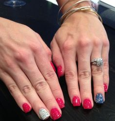 Fourth of July patriotic nails with sparkles!