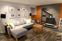 Your basement flooring options are not really any different from the flooring options elsewhere in your home. Everything from ceramics to hardwood, all are possible choices for your basement floor… Basement Furniture, Basement Stairs, Basement Ideas, Im Coming Home, Home And Living, Living Room, Home Theater Rooms, Stair Storage, Basement Remodeling