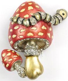 MB Boucher Metallic Enamel Caterpillar on a Double Spotted Mushroom Pin Clip