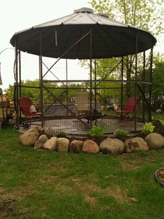 Made a gazebo out of an old recycled corn crib