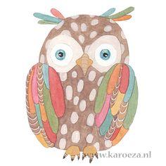 """An owl illustration"" by karoeza.nl Pinned by www.myowlbarn.com"