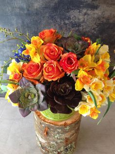 spring colours with silk flowers
