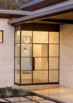 Dark bronze finish steel door w/ side lights, transom, and side panel
