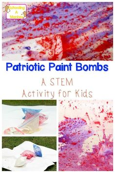 Learn about chemical reactions in this highly visual STEM activity for kids using vinegar and baking soda to create patriotic paint bombs. Steam Activities, Science Activities, Summer Activities, Preschool Science, Elementary Science, Science Education, Higher Education, Patriotic Crafts, July Crafts