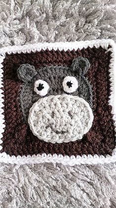 "6"" Hippo Square - £1.50 by Angie Mc"