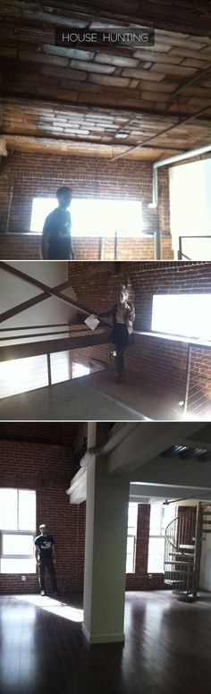 love renovated buildings turned lofts spaces. exposed brick + spiral stairs