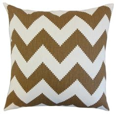 """Make a bold statement to your interiors with this accent pillow. This decor piece features a zigzag pattern in shades of brown and white. Lend a playful and fun vibe to your living room or bedroom. Pair this 18"""" pillow with solids and other patterns to create a contemporary style. Made of 100% linen fabric and crafted in the USA. $55.00 #throwpillow  #homedecor  #zigzagpillow  #zigzag  #brownandwhite #interiorstyling"""