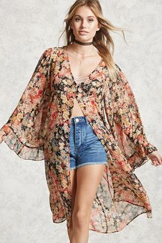 Forever 21 Contemporary - A semi-sheer lightweight woven cardigan featuring a floral print, long bell sleeves with ruffle trim, button placket, V-neckline, and an open front.