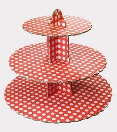 Culpitt-Spot-Rojo-3-Niveles-Cupcake-Pastel-soporte-de-exhibicion-Birhtday-Fiesta-Decoracion