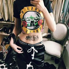 Graffiti Printing Hollow Holes Punk Hippie Short Sleeves T-shirt