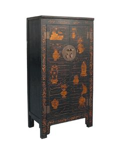 Vintage Chinese 3-D Golden Painting Dresser Cabinet - Golden Lotus Antiques
