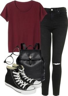 Typical Look for School Untitled #1051 by aracelymejiax featuring a skull backpack Monki red tee, $13 / Topshop skinny jeans / Converse sneaker, $82 / Alexander McQueen skull backpack / Black eye...