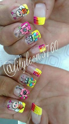 Muy tiernas Cute Nail Art, Gel Nail Art, Nail Manicure, Acrylic Nails, Hot Nails, Hair And Nails, Ruby Nails, Sculpted Gel Nails, Cruise Nails