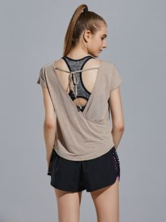 Women Backless Pure Color Short Sleeve Yoga Running Fitness T-shirt
