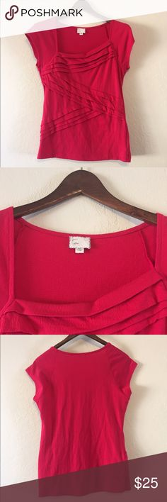 Anthropologie Postmark Folded Blouse Dark pink blouse with linear design - short sleeves - excellent used condition. Anthropologie Tops Blouses