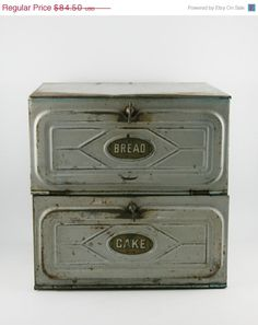ON SALE Primitive Two Tiered Tin Bread  & by ItsJustTheBeesKnees, $76.05