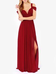 maxi+robe+épaule+dénudé+-rouge+bordeaux++24.83