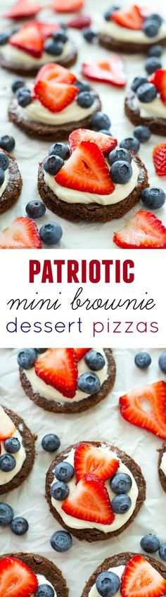 These mini berry-loaded dessert pizzas are going to be a hit at the of July this year! No one will be able to resist the fudgy brownies, luscious cream cheese frosting, and overload of fresh berries. Whole and Heavenly Oven Brownie Desserts, Köstliche Desserts, Delicious Desserts, Dessert Recipes, Yummy Food, 4th Of July Desserts, Fourth Of July Food, July 4th, Mini Brownies