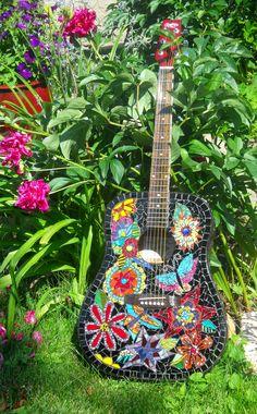 """Kumbaya"" Mosaic Guitar, made from recycled guitar, glass, tile, plates, glass globs"